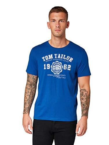TOM TAILOR Herren T-Shirts/Tops T-Shirt mit Logo-Print Hockey Blue,M