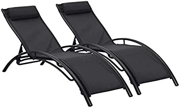 Ainfox Adjustable Chaise Lounge, Patio Reclining Elegant Lounge Chair Recliners Aluminum Sunbathing Chair with Headrest2 Pack (Black)