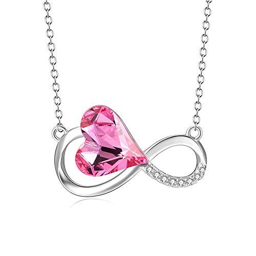 DEQIAODE Frauen 925 Sterling Silber Infinity Pink Heart Crystals von Swarovski Pendant Necklace