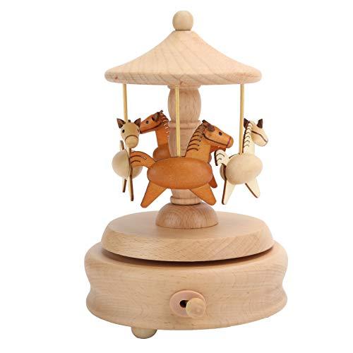 AUNMAS Caja de música de carrusel romántico Caja Musical de Madera Merry-Go-Round Figura de 4 Caballos Colección de artesanía giratoria Decoración del hogar Navidad Cumpleaños de San Valentín Niños