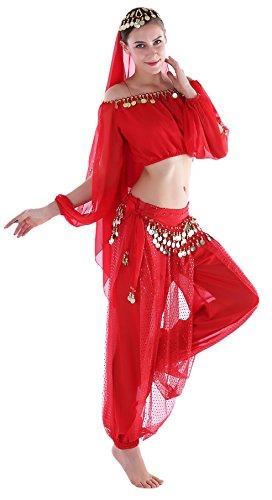 Seawhisper Bollywood Bauchtanz Fasching Kostüm Indische Kleidung Karnevalkostüm Hose Langärmeliges Oberteil Rot