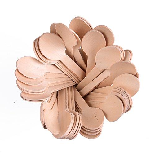 Lot de 100 cuillères jetables en bois de 15,2 cm de longueur. Ustensiles écologiques, compostable, biodégradables et recyclables.
