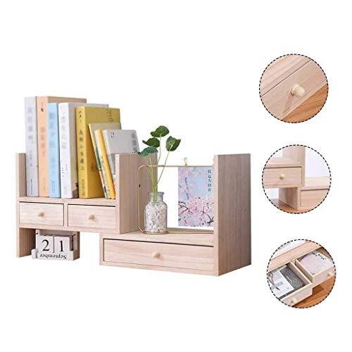 Holz freistehende Desktop Organizer, Desk Organizer mit 3 Schubladen Bücherregal DIY Tisch Lagerregal verstellbare Display-Regal für Heim und Büro