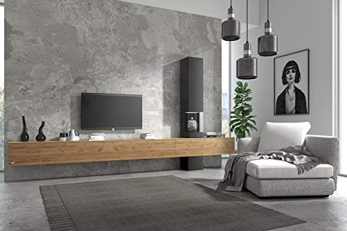 Wuun® Somero Vitrine /360cm/Eiche TV Boards/Vitrine: Matt-Schwarz Wohnwand/Tv Board/Lowboard