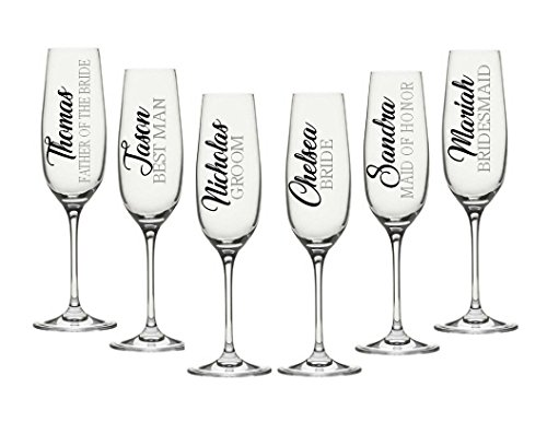 Wedding Party Decals Champagne Flute Decals. Customize Color, Name, Title. Decal Only. For your wine glasses, flasks, Yeti cups, bridesmaids gift, water bottle, etc. Metallic Chrome Glitter Options