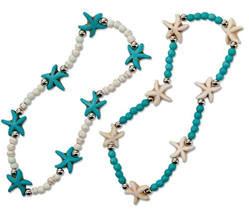 SPUNKYsoul 2 Pack Starfish Anklet Beachy Howlite Starfish Stretch Anklet - 2 Pack Beach Collection