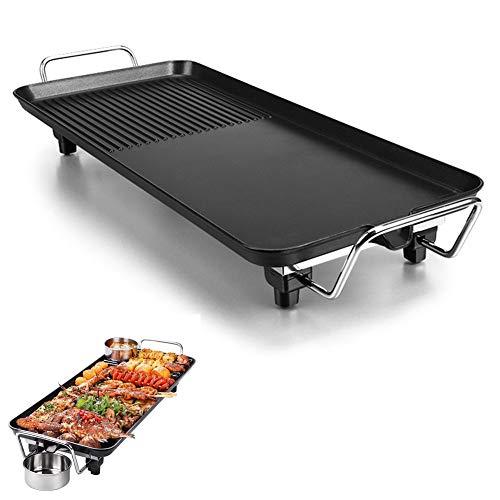 LSSLA BBQ Grill Tapanyaki-Grill elektrische rookloze draagbare grill geschikt voor picknick buitenshuis 5 standen instelbare temperatuur 1400 W anti-aanbaklaag elektrische bakvorm