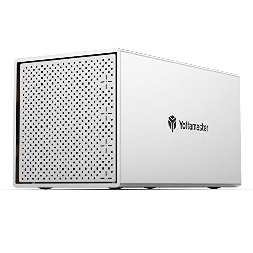 [Support 64TB&RAID] Yottamaster Aluminium 4 Bay RAID Gehäuse,Externe RAID Type-C SATA FestplattenGehäuse für 4 X3.5/2.5 festplatten - RAID 0/1/3/5/10/JBOD