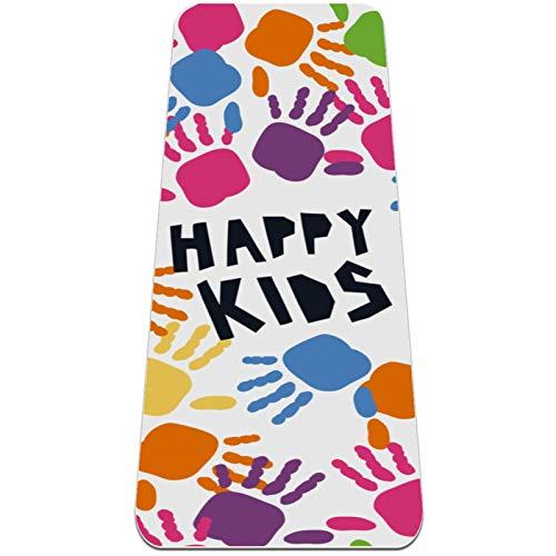 AMEILI Esterilla de yoga para niños, esterilla de yoga plegable, 6 mm de grosor, antideslizante, esterilla de ejercicio para viajes (72 x 24 x 6 mm) color con impresión de mano Happy Kids