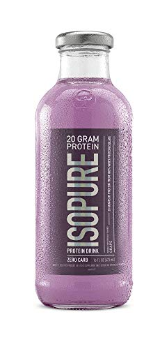 Isopure 20g Protein Drink, 100% Whey Protein Isolate, Zero Carb, Keto Friendly, Flavor: Grape, 12 Count