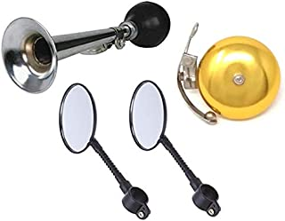 Classic Deluxe Vintage Bike Accessory Kit for Kids and Adult Bikes Mirrors with Reflectors, Silver Classic Horn and Gold Bell And Additional Option With Bike Red and White Bike Silicone LED Lights