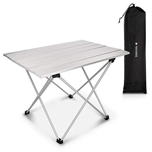 Navaris Mesa Plegable de Camping - Mesa Auxiliar de Aluminio Ligero de 55.7 x 40.5 x 38.5 CM - Mesa de Playa y Picnic pequeña de Color Plateado