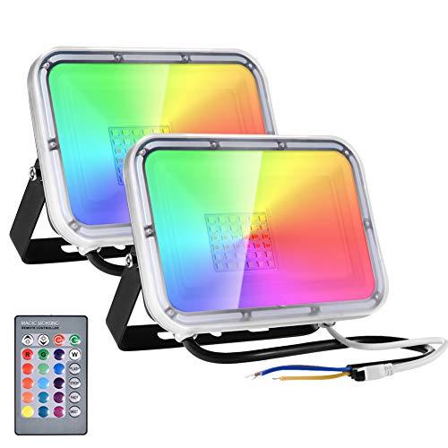 30W Faretto LED RGB con Telecomando 2400lm 16 colori & 4 modalità, Illuminazione del Paesaggio con Funzione di Memoria, Proiettore LED IP66 Impermeabile Spotlight per Giardino Festival Festa (2 Pezzi)