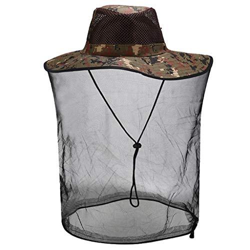 Yowablo Outdoor Moskito Resistance Hat Bug Bug Biene Insektennetz Mesh Head Face Protector Cap (1Stck,A)