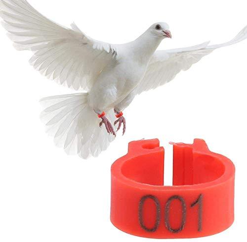 6 Colores 100 Unids/Bolsa 8MM 001-100 Numerados Plástico Pájaro Bandas Anillos Hen Pigeon Pierna Aves de Corral Paloma Pájaros Loro Clip Anillos Banda(Rojo)