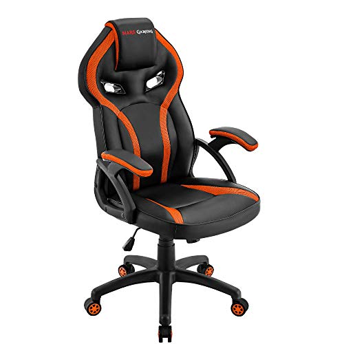 Mars Gaming MGC118BO, Silla Gaming Ergonómica en PU y Nylon, Regulable, Naranja