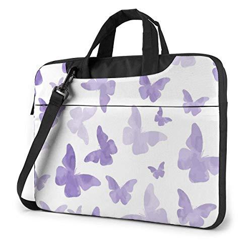 15.6 inch Laptop Shoulder Briefcase Messenger Purple Butterfly Pattern Tablet Bussiness Carrying Handbag Case Sleeve
