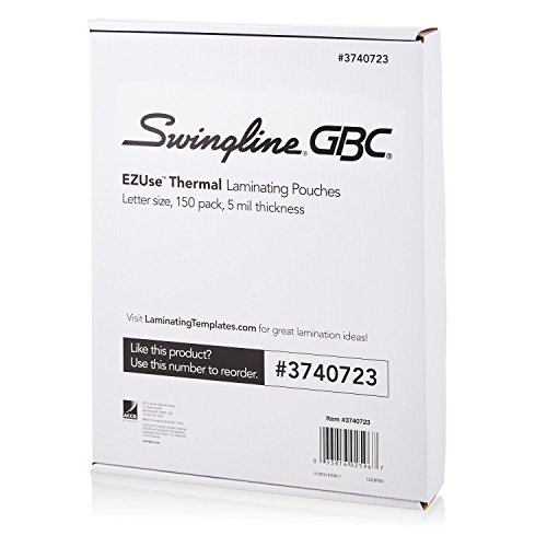 Swingline GBC Laminating Sheets, Thermal Laminating Pouches Letter Size, 5mil, EZUse, 150 Pack, 1 Case of 8 (3740723-CS)
