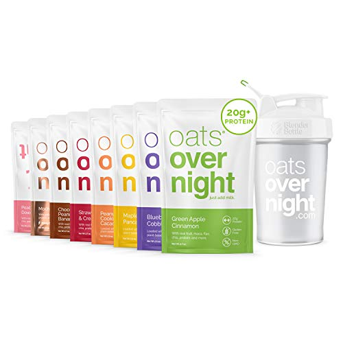 Oats Overnight - Party Pack Variety (8 Meals PLUS BlenderBottle ) High Protein, Low Sugar Breakfast Shake - Gluten Free, Non GMO Oatmeal (2.7oz per meal)