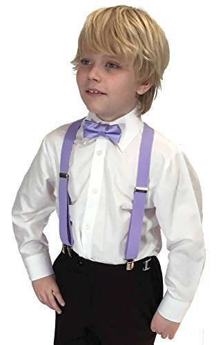Spencer J's Boys X Back Suspenders & Bowtie Set Variety of Colors (Lavender)