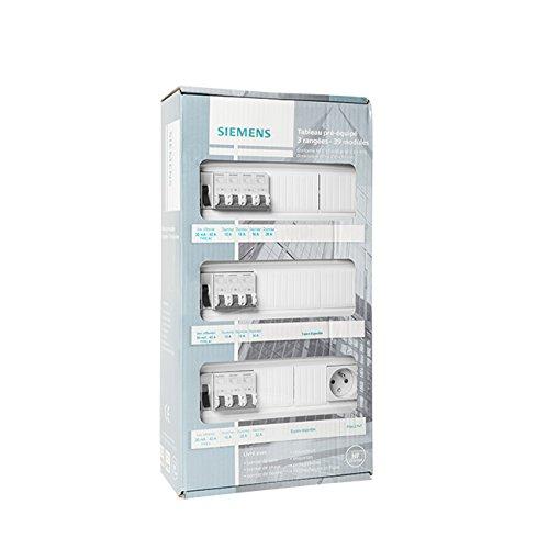 SIEMENS - Tableau électrique pré-équipé 3 rangées 39 modules 10 disjoncteurs 3 interrupteurs différentiels + prise 2P + T
