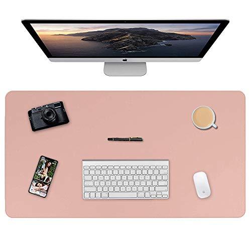 Almohadilla de escritorio, 90 x 40cm Ultra fino Alfombrilla para ratón impermeable almohadilla protectora de escritorio del cuero de PU alfombrilla de escritorio de doble cara (Rosa + Plata)