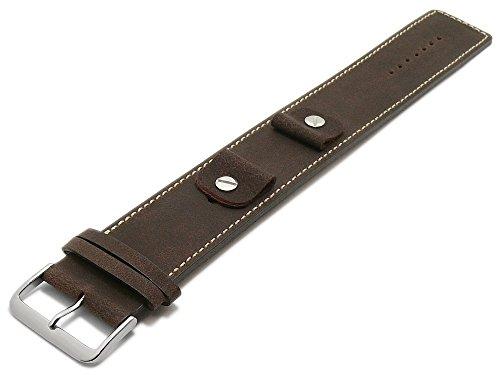 Meyhofer Uhrband Kassel Classic 14-16-18-20mm Dunkelbraun Leder genarbt helle Naht Unterlagenband MyFcklb355/14-20mm/dbraun/hN