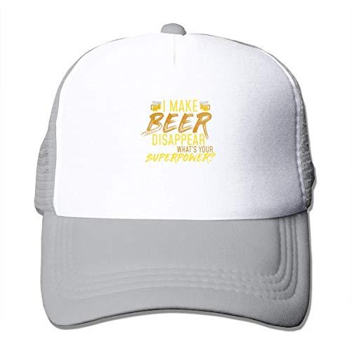 NA Ik Maak Bier Verdwijnen, Wat is Uw Superpower Mesh Honkbal Cap Trucker Hoeden Grijs