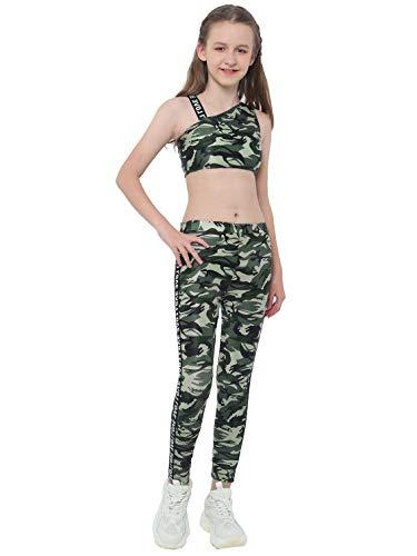 Kaerm Kinder Mädchen Camouflage Jogginganzug Jogging Army Trainingsanzug MILITÄR TARN Jogging Fitness Yoga Sportanzug Sport BH MIT Hose Set Gr. 98-176 Camouflage Grün A 134-140