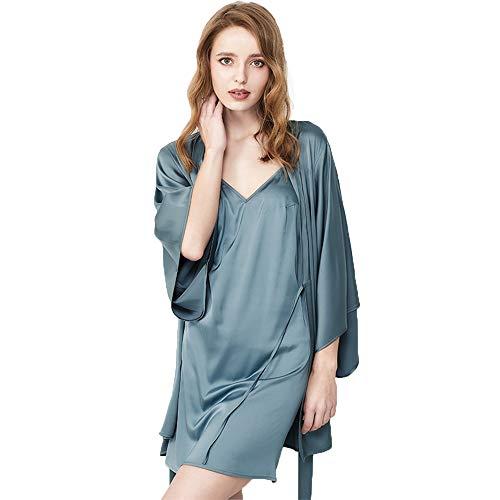 Nachtkleding Satin Robe For Vrouwen Kimono Robes, Women's Badjas Satin Badjas Nachthemd Robe Pajama Dress Lingerie Set Badjas Nightgown (Color : Haze blue, Size : L)