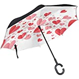 huatongxin Inverted Valentines Day Pink and Red Hearts Paraguas Car Reverse Windproof Rain Paraguas for Car Outdoor with C Shaped Handle
