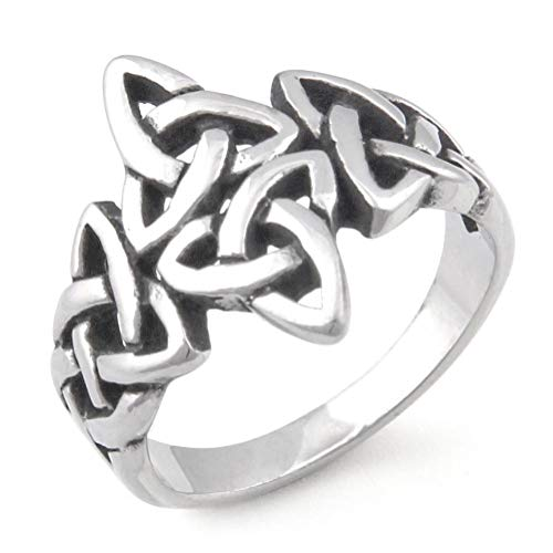 Warvik Triquetra Trinity Celtic Knot Ring Ancient Life Pagan, Stainless Steel Jewelry Mens Womens 7/8/9/10/11/12/13