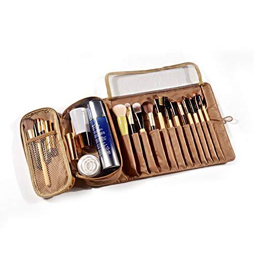Modekosmetiktasche, Kosmetikstift, Pinsel, Tragbare Multifunktionale Tragbare Faltreisekosmetiktasche Mit Großer Kapazität (23 * 22 * 19cm,Golden)