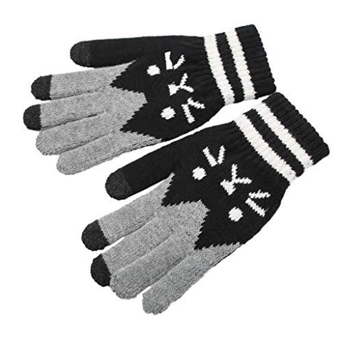 Lunji Damen Herren Touchscreen Handschuhe Katzenmotiv, Winterhandschuhe Strick Für Skifahren Radfahren Und SMS