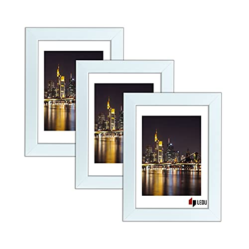 LEDU® 3er Set Bilderrahmen   13x18   Weiß   MDF   Plexiglas