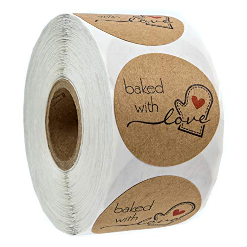 """1.5"""" Inch Round Natural Kraft Baked with Love Stickers / 500 Labels per roll"""
