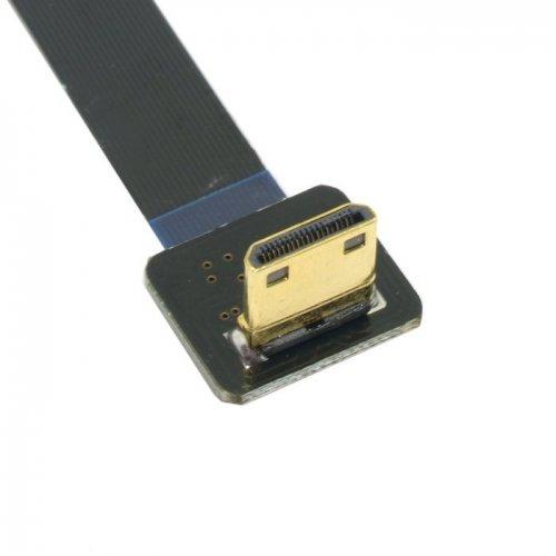 Cablecc Cablecc FPV Mini-HDMI-Stecker auf HDMI-Stecker, um 90 Grad abgewinkelt, FPC-Flachkabel, 50 cm, für Luftfotografie mit Multicoptern