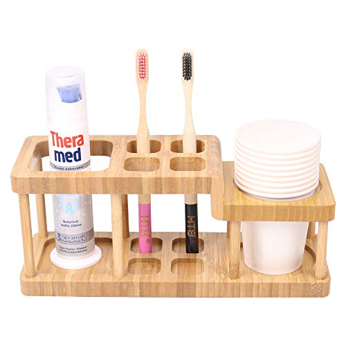 Bamboo Toothbrush Holder Storage Organizer Stand Rack for Powered Toothbrush Toothpaste Cleanser Razor Cup