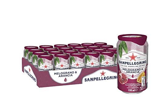 Sanpellegrino | Limonade mit Orange und Granatapfel | Melograno & Arancia | Hoher Fruchtanteil 16% aus Orangen und Granatapfel | Prickelnd süße Geschmacksnote | 24er Pack (24 x 0,33l) Einweg Dosen