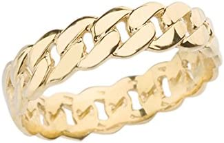 Celtic Rings 10k Gracious Yellow Gold 5 mm Cuban Link Chain Eternity Band Ring Size 7 product image