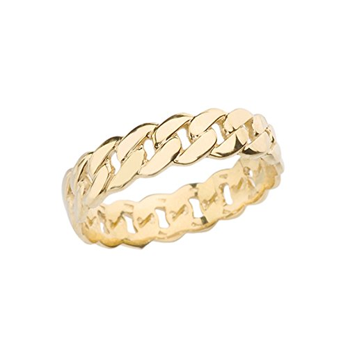 Celtic Rings 10k Gracious Yellow Gold 5 mm Cuban Link Chain Eternity Band Ring (Size 6)