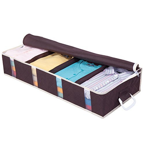 1Storage Charcoal Fiber Under Bed Organizer, Carry Handles, 4Cells, Breathable Material, Darkbrown 902-33