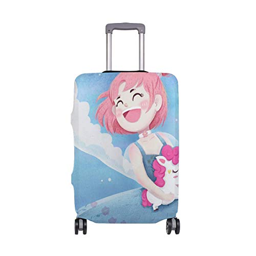 Travel Lage Cover Blue Pink Beautiful Unicorn Girl Suitcase Protector Fits 26-28 Inch Washable Baggage Covers