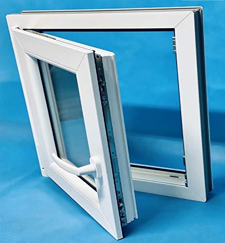 ECO-BLU V12M Finestra PVC 600 x 600 cm sinistra oscillante pratica opaco, bianco, 600 x 600 mm