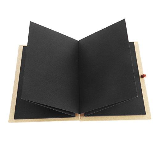 LUOEM Papel kraft de tapa dura, estilo acordeón, álbum de fotos bricolaje, libro 36 página, bloc de notas, graduación, cumpleaños, aniversario, regalos de boda (páginas negras)