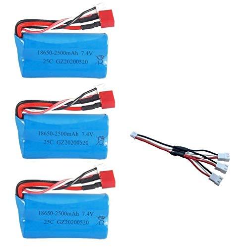 Styleart Batería lipo de 7,4 V 2500 MAH 18650 para Wltoys 10428/12428/12423 Piezas de Repuesto de Coche RC con Cargador batería de 7,4 V 2S para Piezas de Juguetes Lightgreen