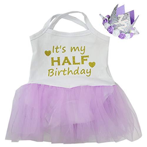 Kirei Sui Baby 1/2 Crown Half Birthday Tulle Tutu Bodysuit Lavender M