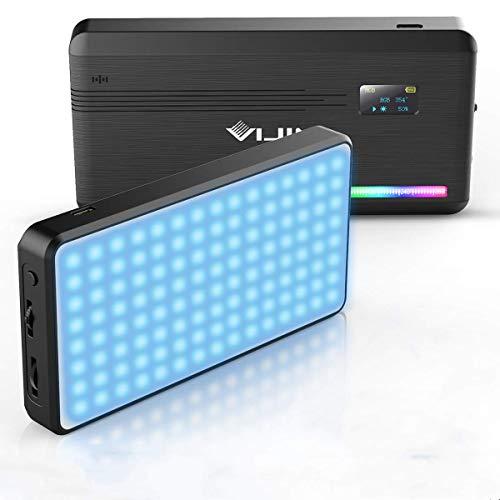 LED Videoleuchte RGB mit Eingebautem Akku,Dimmbare Videolicht 2500K-9000K, Kamera Licht Dauerlicht CRI95+,Klein Tragbar Mini Fotolampe für DSLR Camcorder Smartphone
