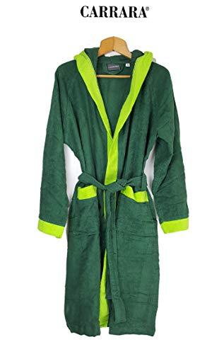 Carrara Bademantel für Damen mit Kapuze aus Reiner Baumwolle (dunkelgrün Größe XXL)