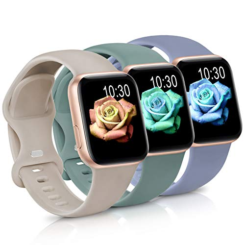 Sport Band Compatible with Apple Watch iWatch Bands 38mm 40mm,Soft Silicone Strap Wristbands for...
